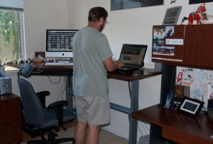 Desk Adjusted to the Standing Position