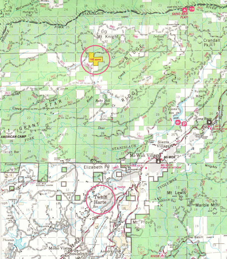 Map of 180 Acre Property Outside of Twain Harte