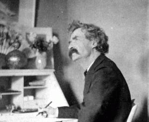 Mark Twain Pondering at Desk