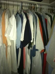 Shot of t-Shirts in Dark Closet Using iPhone 4