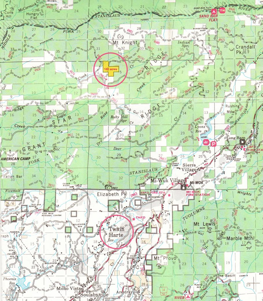 Map of 180 Acre Property Outside of Twain Harte